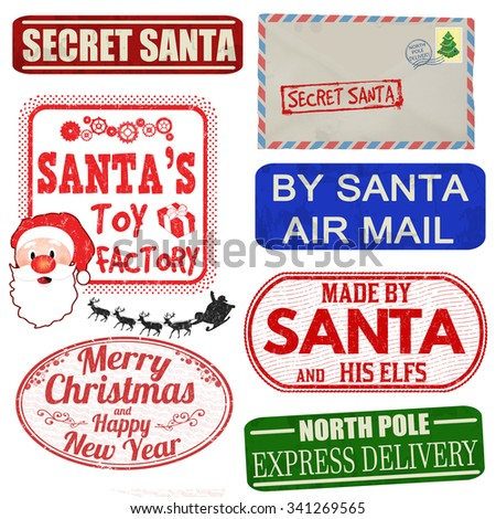 Set of isolated Christmas stamps and labels on white background, vector illustration - stock vector