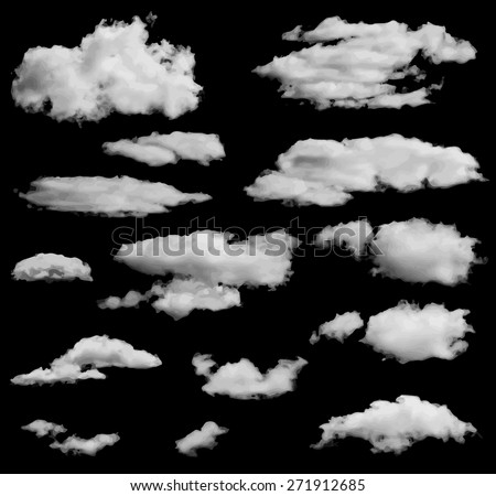 Set of isolated clouds over black. Can be used as speech bubble - stock vector