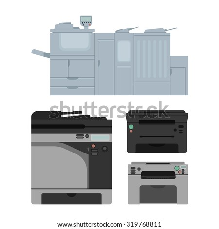 Set of isolated color laser printer in vector. Digital print machine design. Color copy document and printing equipment. Office hardware collection. Big press machine and small copier for business. - stock vector