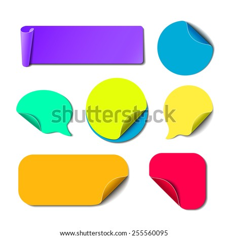 Set of isolated colorful paper stickers. Square, round, rectangle and speech bubbles backgrounds. Vector labels illustration. - stock vector