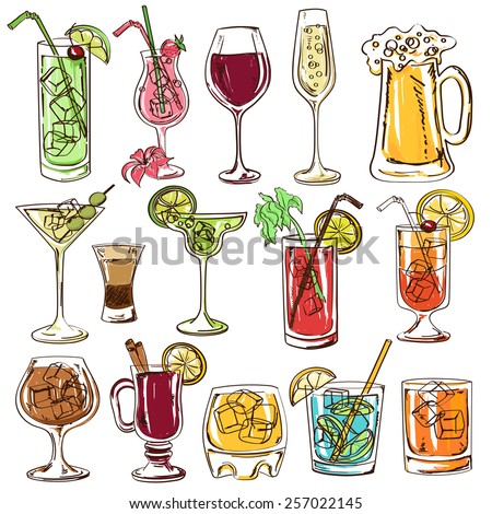 Set of isolated colorful sketch cocktails, beer and wine - stock vector