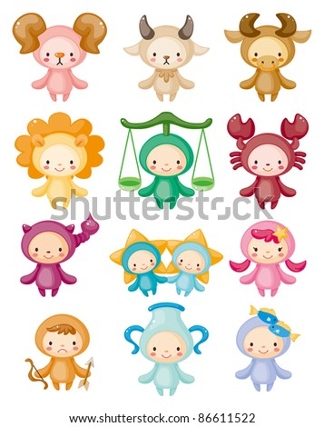 Set of isolated cute zodiac symbols - stock vector