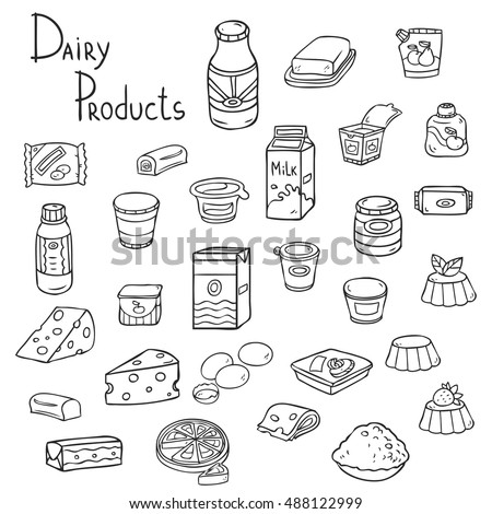 Set of isolated dairy products. Hand-drawn illustration of different kinds of milk products. White background.