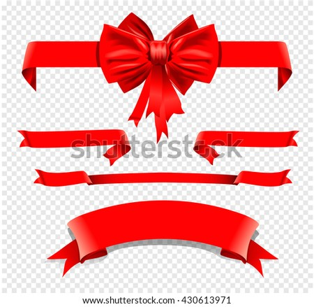 set of isolated decoration red ribbons with bow. Vector illustration - stock vector