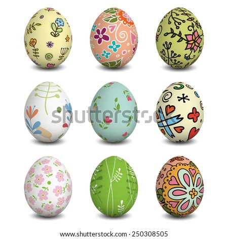 Set of Isolated Easter eggs. Colorful Easter eggs. Happy Easter. Vector objects. 3D. Vector background. - stock vector