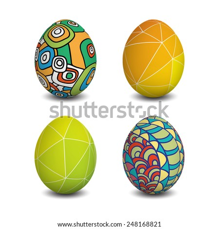 Set of Isolated Easter eggs. Happy Easter. Vector objects. 3D. Realistic Easter eggs. Vector background. Easter. - stock vector
