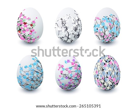 Set of isolated Easter eggs painted with flowers in colors - stock vector