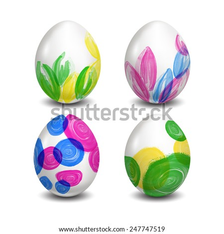 Set of Isolated Easter eggs. Watercolor paints. Happy Easter. Vector objects. 3D. Realistic Easter eggs. Vector background. - stock vector