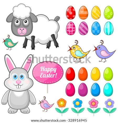 Set of isolated festive symbols for Easter holiday