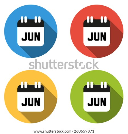 Set of 4 isolated flat colorful buttons for June (calendar icon) - stock vector