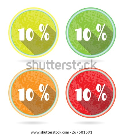 Set of 4 isolated, flat, colorful buttons, percent discount