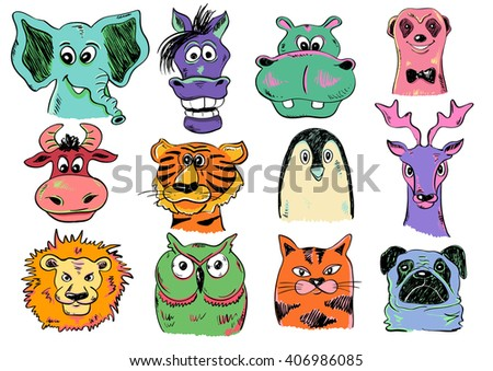 Set of isolated funny cartoon smiling animal face icons. Creative avatars. Colorful animal face characters. - stock vector
