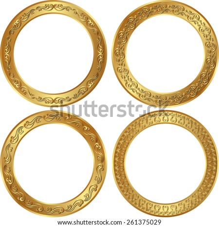 set of isolated golden borders - stock vector