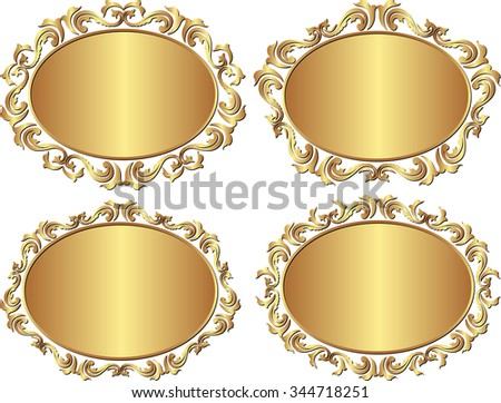 set of isolated golden frames - stock vector