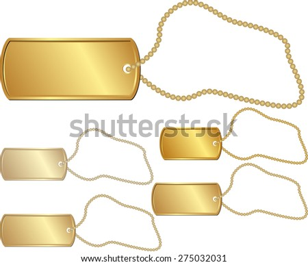 set of isolated golden identity tag  - stock vector