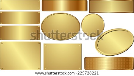 set of isolated golden plaques - stock vector