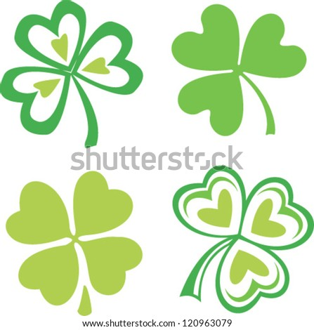 Set of isolated green Irish clovers, vector symbol of Saint Patrick's day - stock vector
