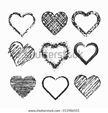 Set of isolated grunge hearts. Vector illustration