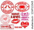 Set of isolated grunge Valentine's Day stamps on white background, vector illustration - stock vector
