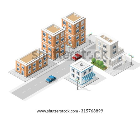Set of Isolated High Quality Isometric City Elements on White Background. - stock vector