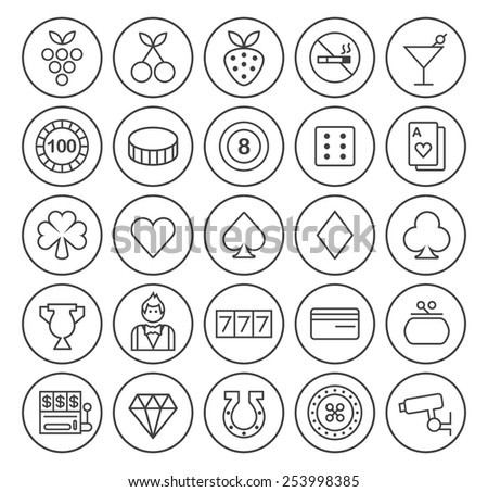 Set of Isolated High Quality Universal Standard Minimal Simple Black Thin Line Casino Icons on Circular Buttons on White Background. - stock vector