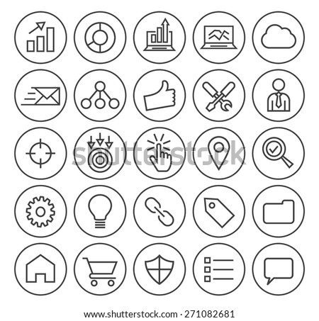 Set of Isolated High Quality Universal Standard Minimal Simple Black Thin Line SEO and Development Icons on Circular Buttons on White Background. - stock vector