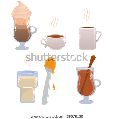 Set of isolated hot drinks - stock vector