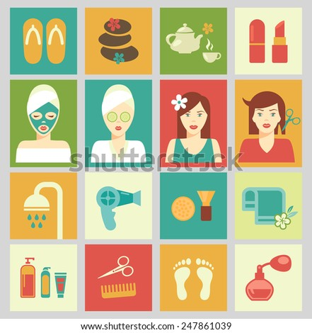 Set of isolated icons in colorful squares. Beauty and care of female body. Haircut, spa and makeup. Vector illustration - stock vector