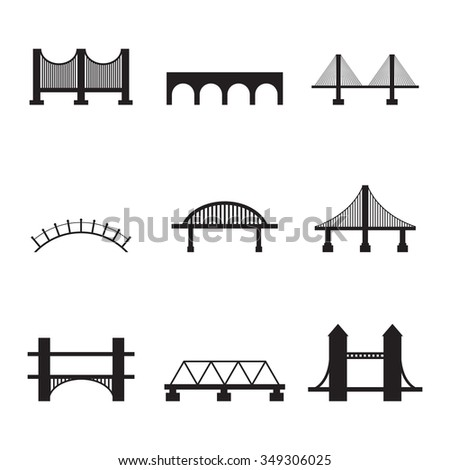 Set of isolated icons on a theme bridges