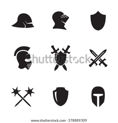 Set of isolated icons on a theme war symbols - stock vector