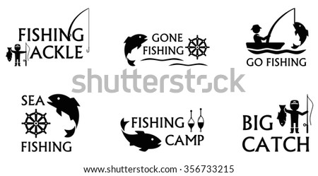 set of isolated icons on white background with fishing symbols - stock vector