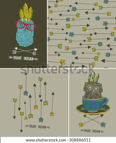 Set of isolated images and cute patterns with indian owl. Vector design. - stock vector