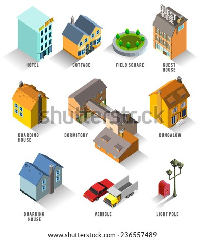 Set of Isolated Isometric Buildings. Illustration of Various Urban and Rural Houses and Dwellings, Detailed Vector - stock vector