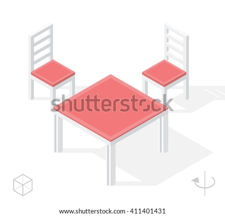 Set of Isolated Isometric Minimal Kitchen Elements. Table and Chair with Shadows on White Background.