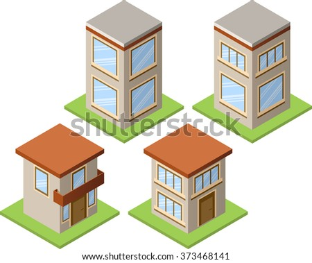 Set of isolated isometric private buildings. Illustration of urban and rural houses and dwellings. For your infographic, map or business design. Detailed vector clip art with easy editable colors. - stock vector