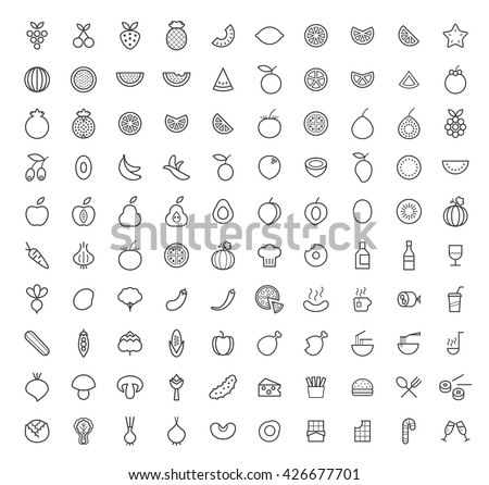 Set of 100 Isolated Minimal Modern Simple Elegant White Stroke Icons ( Fruits , Vegetables and other Food ). - stock vector