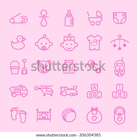 Set of Isolated Modern Minimalistic Simple Baby Thin Line Icons on Color Background.  - stock vector
