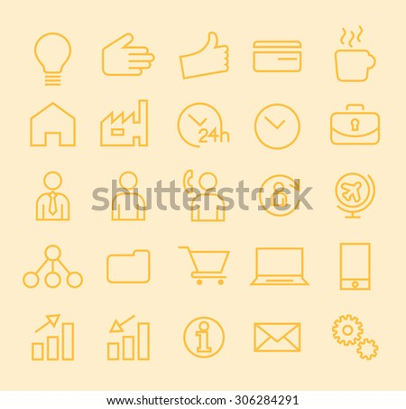 Set of Isolated Modern Minimalistic Simple Business Thin Line Icons on Color Background.