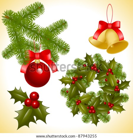 set of isolated objects of Christmas ornaments. coniferous decoration. wreath holly, red balls with branch pine and bell with bow, leaf holly with berry - stock vector