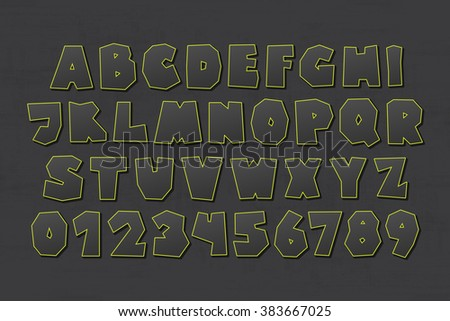 set of isolated on dark background cartoon style, funny alphabet letters and numbers. vector, commercial font type design. comic book lettering typeface - stock vector