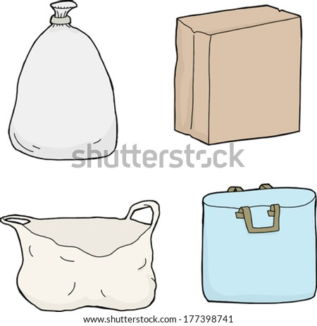 Set of isolated paper and plastic bags - stock vector