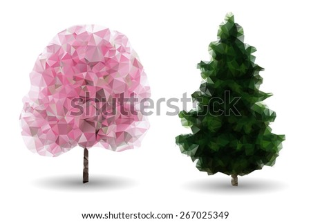 Set of isolated polygonal trees: green fir and flowering tree. - stock vector