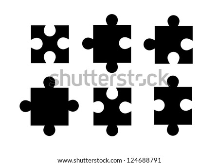 Set of isolated puzzle pieces on white background vector. - stock vector