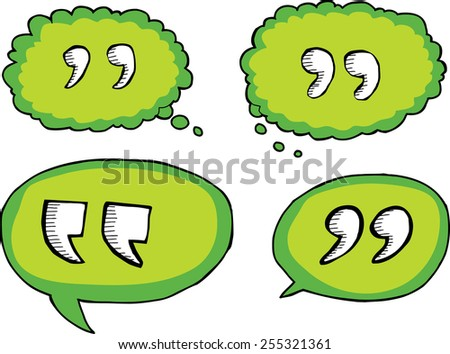 Set of isolated quote symbols in dialog bubbles - stock vector