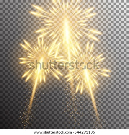 Set of isolated realistic vector fireworks on transparent background