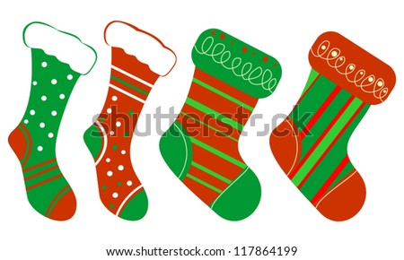 Set of Isolated Red and Green Christmas Gift Socks on White background - stock vector