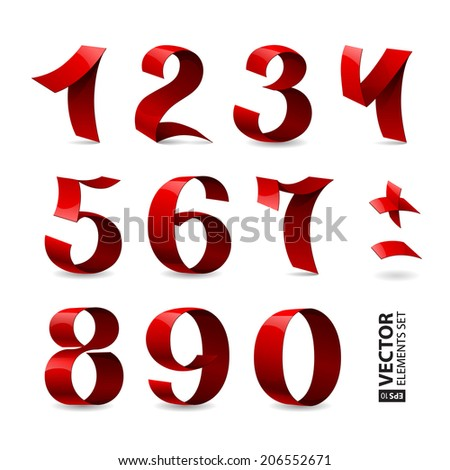 Set of isolated red color shining ribbon numbers on white background. RGB EPS 10 vector illustration - stock vector