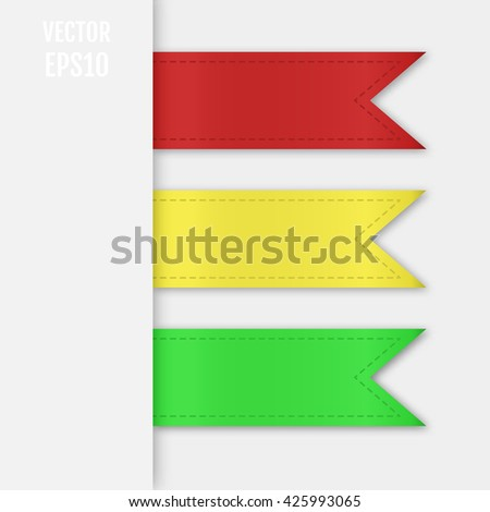 Set of isolated ribbons. Web bookmarks for you text. Vector illustration - stock vector