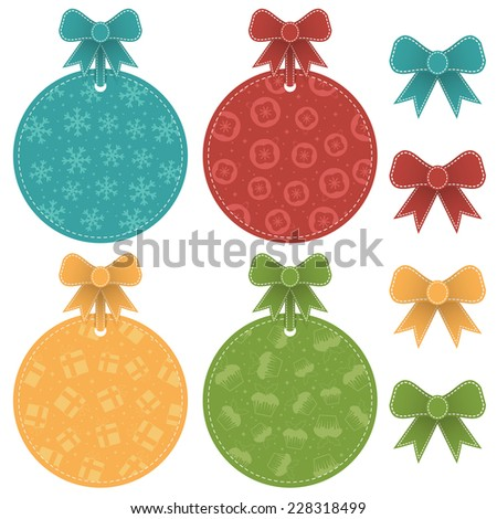 set of isolated round christmas labels with ribbons - stock vector