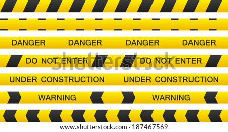 Set of 7 isolated seamless warning tapes with and without text - stock vector
